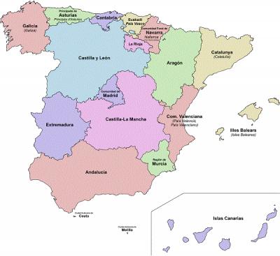 Obrázok č. 1: Mapa de las Comunidades Autónomas de España